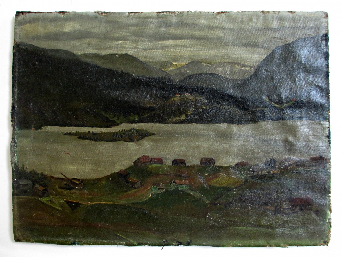 Lake Scene - Before Art Restoration Services