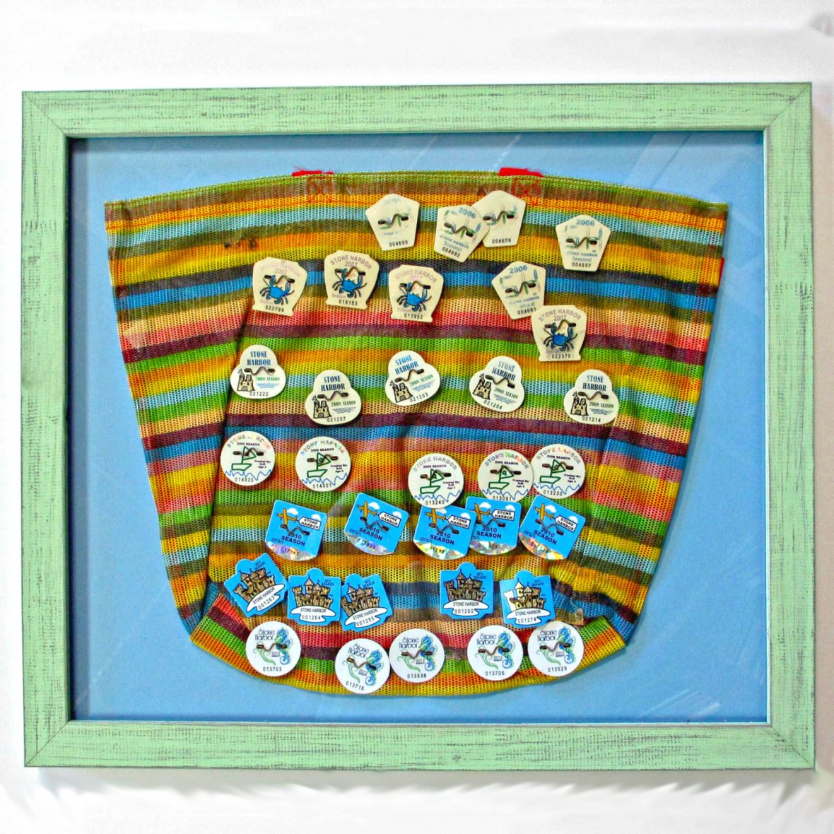 Beach Tags Matted Frame - Rose City Framemakers - Sparta NJ - Custom Framing
