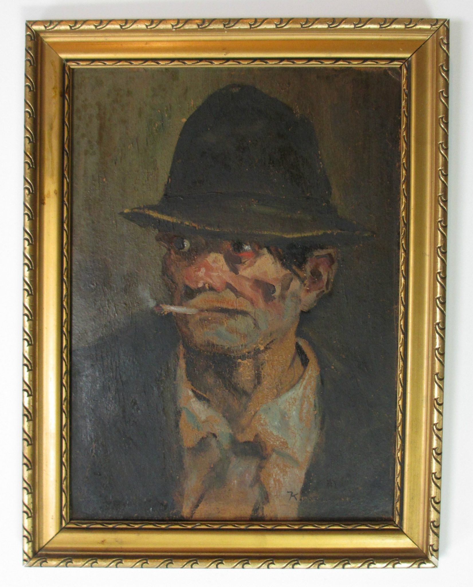 Smoking Man - Before Art Restoration Services
