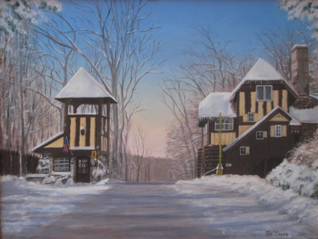 Lake Mohawk Gate House in Winter - Artists on Display - Custom Framing - Rose City Framemakers - Sparta New Jersey - New York