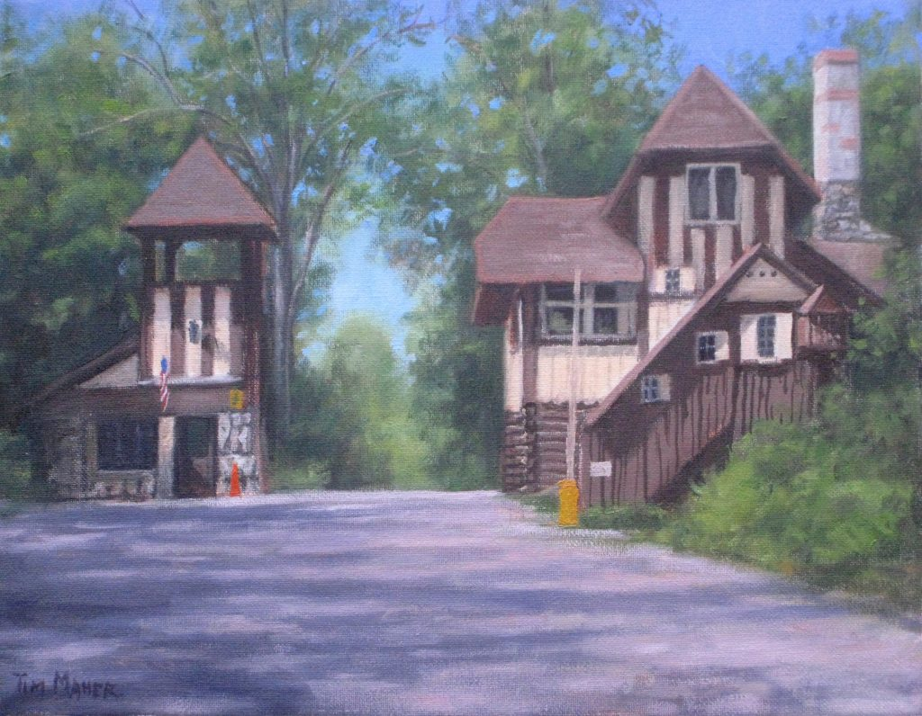 Lake Mohawk gatehouse in summer - Artists on Display - Custom Framing - Rose City Framemakers - Sparta New Jersey - New York