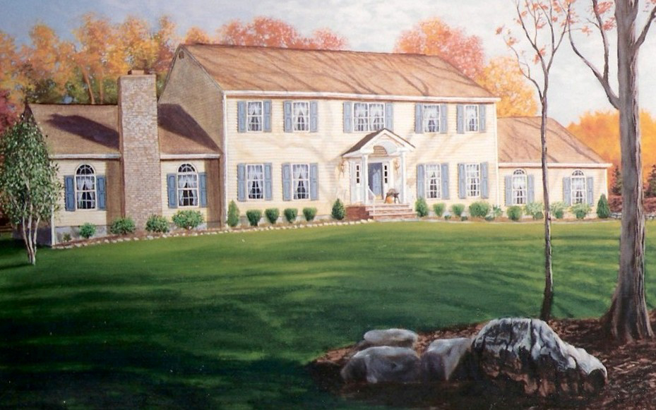 Watercolor House Rendering 3 - Artists on Display - Custom Framing - Rose City Framemakers - Sparta New Jersey - New York