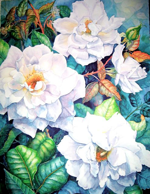 White Magic Roses - Rita Joyce - Custom Framing - Rose City Framemakers - Sparta New Jersey - New York
